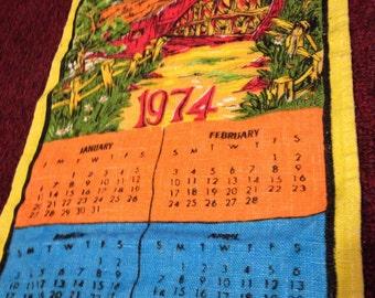 1979 Linen Calendar Vintage Tea Towel