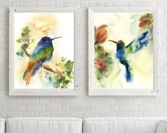 Hummingbirds Art Print Set, set of 2 bird prints, watercolor print, bird art, modern wall art print set, blue green and rust