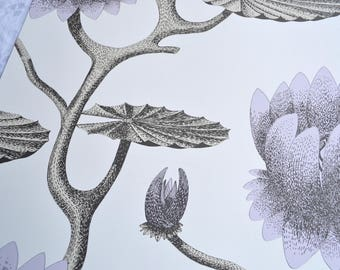 Wallpaper - Cole and Son  Sample Sheet  - 19 x 17 Summer Lily in Lavender
