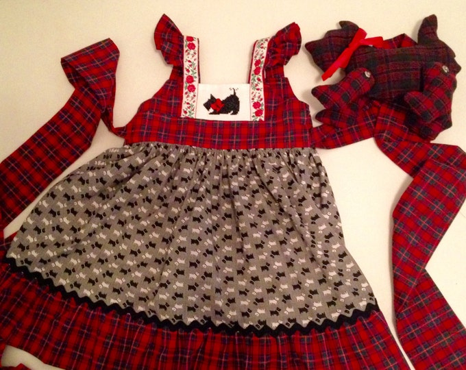 HALF PRICE ** Girls Scottie Dress. Red and Green Plaid and Scottie Dog Print Dress with Black Hand Stitched Scottie. Christmas Party Dress