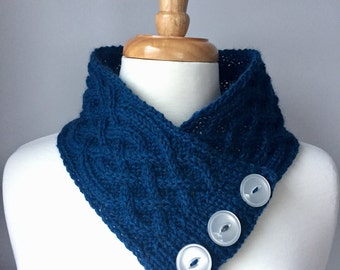 Knit Cabled Neck Warmer - Handmade Cowl - Deep Blue