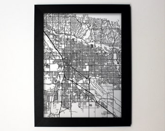 tucson arizona laser cut map tucson az street map map of tucson az - Home Decor Tucson
