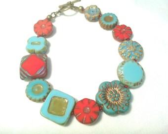 Czech Flower Bracelet Czech Bead Bracelet Red Flower Bracelet Blue Flower Bracelet Red Gypsy Bracelet