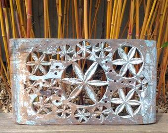Vintage Indian Hand Carved Decorative Wooden Fretwork Jali Panel