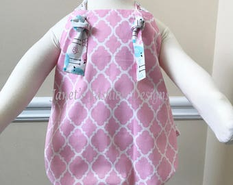 Pink  and White Baby Girl Bubble Romper - Lattice Baby Romper- Easter Bubble Romper - Knot romper