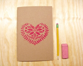 Sketchbook Journal - Red Heart - Valentines Day - Swedish Heart - Block Printed - Hand Bound