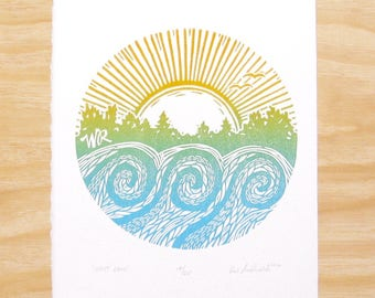 "Woodblock Print - ""West Rock"" - Sunset at the Lake - Wake Park Rockford"