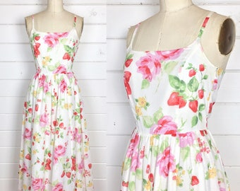 Vintage 1980s Laura Ashley Floral Cotton Dress / Gauze Cotton / Sundress / Strawberry Print / Roses