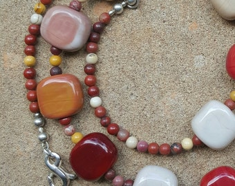 Handmade Lampwork Beaded Necklace in Clay/Brick Colours