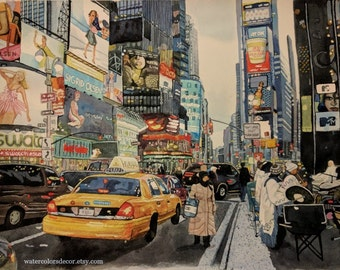 Original Broadway on Times Square Watercolor Painting New York Art NYC artwork city wall art 11x14 painting taxi skyline skyscraper picture