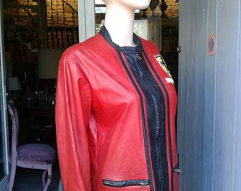French vintage red and black Ferrari jacket with emblem, made in Paris.