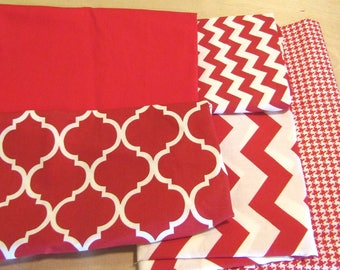 Red Remnant Bundle, Red Fabric Bundle,  quilting fabric, craft fabric