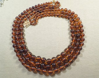 Vintage Gold Tone Three Strand Amber Color Bead And Rhinestone Necklace DL# 2944