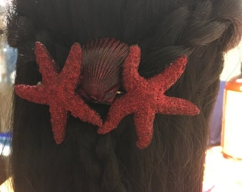 Red Sparkle Starfish Seashell Hair Barrette