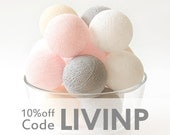 35 Vintage Pastel Pink Grey Cream White Cotton Ball String Lights for Bedroom Baby room Birthday Gift Wedding Party Fairy Patio Night Lights