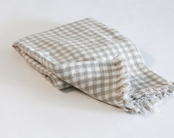 Linen Throw / Bed Blanket - Gingham Natural