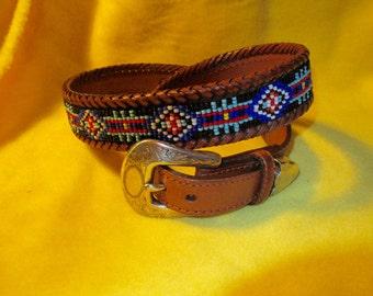 Vintage Eddy Bauer Beaded leather Belt Size 30.