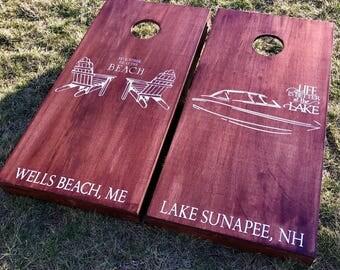 Custom Wedding Cornhole Boards - Custom Summer Adirondack + Boat