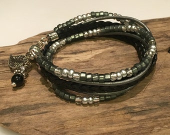 Top Seller! Wrap Bracelet, Boho Beaded Wrap Bracelet, Leather Wrap,Grey, Silver, Black, 2X Leather Wrap, CHOOSE your CHARM!