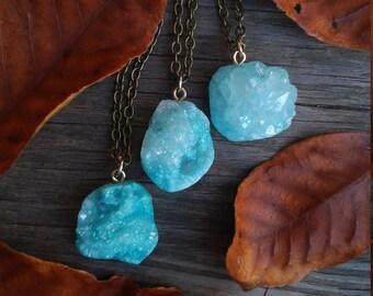 aqua aura druzy necklace, aqua aura, blue aura, aqua aura crystal necklace