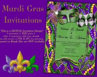 Mardi Gras Invitations, Mardi Gras Mask Invitations, Mardi Gras, Mardi Gras Masks, Mardi Gras Party, Invitations, Mardi Gras Masquerade