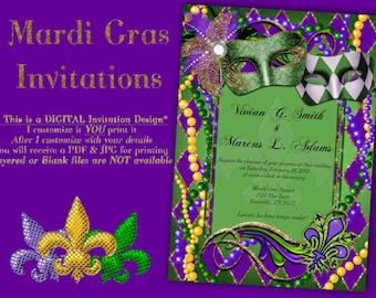 Mardi gras invite | Etsy
