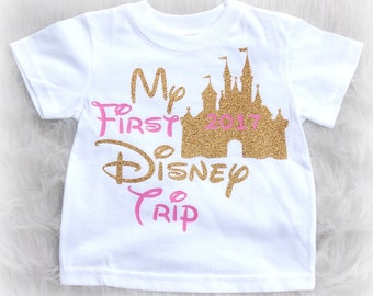 My first disney trip shirt for girls - pink and gold disney shirt - Cinderella Castle - vacation shirt for toddlers - disneyworld shirt