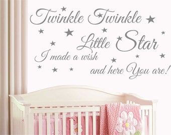 Twinkle Twinkle Little Star Quote Kids Baby Nursery Wall Art Sticker Decal T10