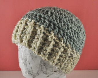 Chunky Bun Hat - blue and white