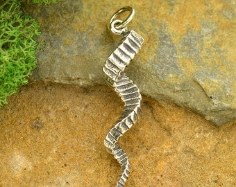 Sterling Silver Antelope Horn Charm. Twisted Horn Pendant.