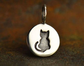Sterling Silver Cat Charm. Round Etched Kitten Charm.