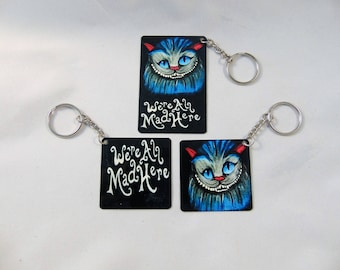 Cheshire Cat Alice In Wonderland Inspired Keychain Set