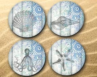 Coasters - beach, ocean, summer, cottage theme, hostess gift, coaster, shells, octopus - (0004)