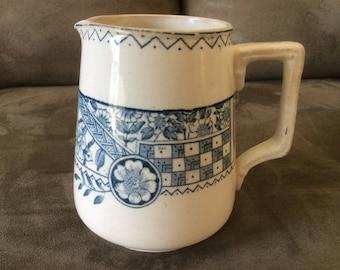 Blue and cream transferware pitcher, vintage