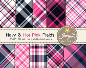 Navy and Hot Pink Plaids Digital Papers, Navy Blue, Digital ScrapbookingPaper for scrapbooking, invitations, planner