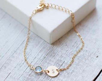 Dainty bracelet birthstone personalized bracelet unbiological sister initial letter birth stone birthday gift gold bracelet jewelry /231