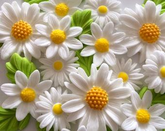 WHITE DAISIES edible sugar paste flowers birthday wedding cake cupcake decorations