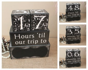 Vacation Countdown, Travel Countdown, Personalized Trip Countdown Wood Blocks, Wood Countdown Blocks, Destination Holiday Countdown Blocks