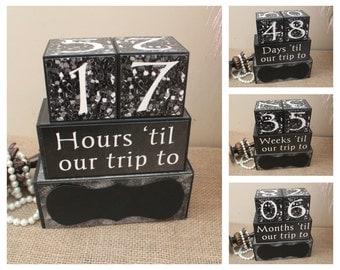 Vacation Countdown, Travel Countdown, Personalized Trip Countdown Wood Blocks, Wood Countdown Blocks, Destination Holiday Countdown Blocks