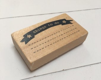 Wood rubber stamp, planner stamp Things to do (SA01)