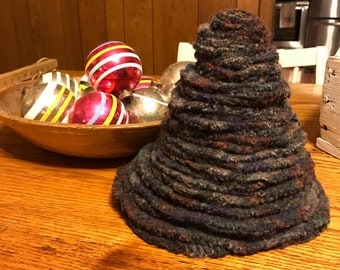 Felted wool christmas tree/stacked wool circles/upcycled sweaters