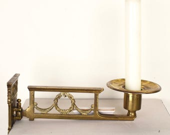 English vintage brass hinged candle sconces, candlestick candle holders