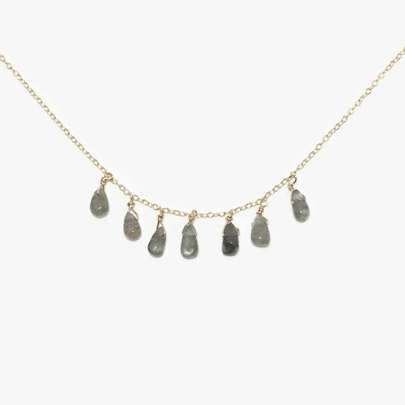 Gemstone drops gold filled chain necklace