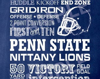 Penn State Football Word Art 5x7 Print / Sign - Typography Art Print