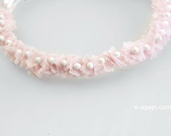 First communion wreath First communion hair accessories First communion crown Baby gift for baptism Headpiece baby baptism pink white