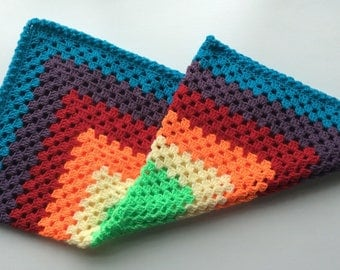 Hand made crochet baby blanket in rainbow shades