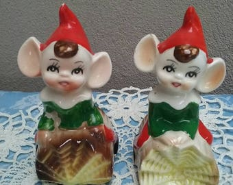 Elves / Pixies Salt And Pepper Shakers On Logs Kitsch Elves / Pixies Made In Japan