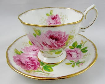 Royal Albert American Beauty Tea Cup and Saucer, Pink Rose, Vintage Bone China