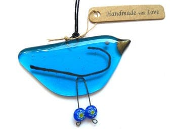 Blue bird, fused glass hanging bird in turquoise blue. Hygge stocking filler glass gift, unique friend gift,BD123 suncatcher