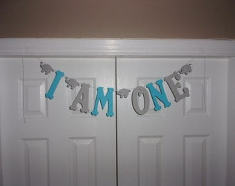 I AM ONE (age) Letter Banner - Turquoise & Grey Cardstock Paper Elephant Garland Sign - Birthday Party Decoration